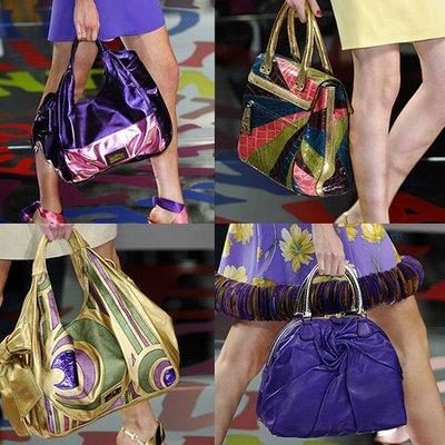 colorful fashion handbags